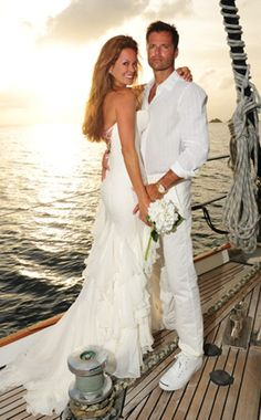 BROOKE BURKE & DAVID CHARVET: The Dancing With the Stars cohost walked down the aisle with former Baywatch actor and fiancé of five years on a boat in St. Barts, Aug. 12, 2011.