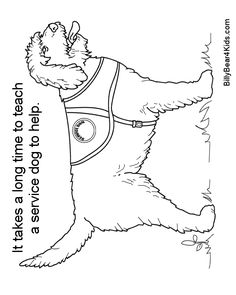 seeing eye dog coloring pages | dog color pages printable | Service Dog Coloring Page to ...