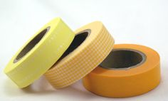 Yellow STARTER COLLECTION Solid, Grid & Double Dot - Set of 3 Coordinating Washi Paper Masking Tapes-49.5 yards total on Etsy, $8.95