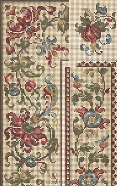 Beading _ Pattern - Motif / Earrings / Band ___ Square Sttich or Bead Loomwork ___ Just Cross Stitch, Cross Stitch Borders, Cross Stitch Samplers, Cross Stitch Flowers, Cross Stitch Charts, Cross Stitch Designs, Cross Stitching, Cross Stitch Patterns, Blackwork Embroidery
