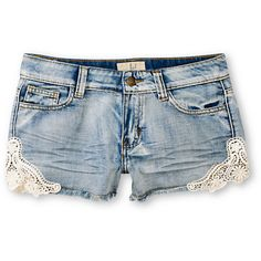 Get+a+vintage+vibe+with+a+modern+fit+in+the+Shine+On+cut-off+shorts+from+Lost+Clothing.+These+distressed+and+bleached+indigo+denim+shorts+have+a+classic+5-pocket+design,+frayed+hems,+and+scalloped+legs+with+lace+doily+details+at+the+sides.+Get+a+boho+look+when+paired+with+a+floral+tank+and+oversize+sunglasses.+
