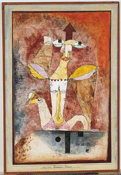 """Paul Klee   'Barbarian Venus'  1921   Watercolor,gouache and oil transfer drawing on plaster primed linen,mounted on cardboard   16 1/4 x 10 5/8"""""""