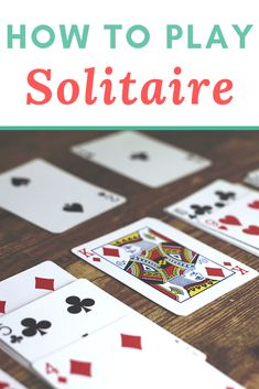Want to learn how to play Solitaire? This post will show you how to play this common solo card game. Learn how to play Klondike Solitaire, and learn about Aces Up, Free Cell, and other kinds of solitaire. Single Player Card Games, Solo Card Games, Card Games For One, 2 Person Card Games, Gift Card Games, Math Card Games, Family Card Games, Dice Games, Play Solitaire Game