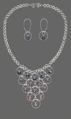 Single-Strand Necklace and Earring Set with Swarovski® Crystal Beads and Sterling Silver Jumprings