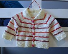 Hand knitted, striped baby cardigan. Baby girl clothing - sweater fit to 4 months