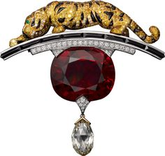 Cartier brooch, white gold, yellow gold, one 34.00-carat cushion-shaped ruby