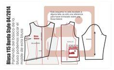 Esquema molde costura Blusa 115 burda style abril 2104 tela baul costureras