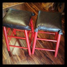 Chocolate covered cherries anyone? These leather covered stools were once white with wicker seats.