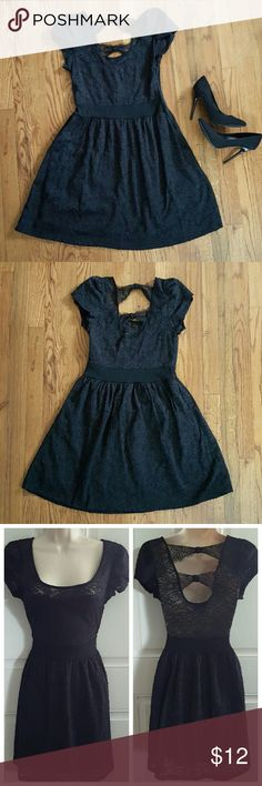 "WET SEAL Black Floral Lace Dress Empire waist. Short sleeve. Invisible side zipper.  Open back with bow detail. Stretch fabric.  Bust 15"", Waist 14"", Length 33""  Missing size tag, size Medium, see measurements. Wet Seal Dresses"