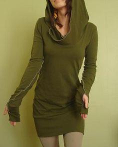 hooded tunic dress extra long sleeves w\ thumb holes