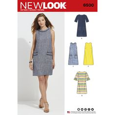 New Look Pattern 6500 Misses' Dress with Neckline, Sleeve, and Pocket VariationsMake this classic cut shift dress in sleeveless or sleeve. Dress can be perfectly paired with tweed or denim fabrics to add a raw fringe edge to the pocket or neckline. Sewing Clothes, Diy Clothes, Dress Sewing, Clothing Patterns, Sewing Patterns, Robe Diy, New Look Dresses, Stylish Dresses, New Look Women
