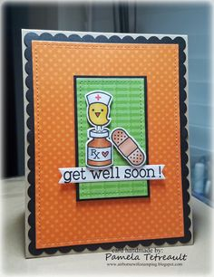 """airbornewife's stamping spot: Day 5. Copic Markers """"GET WELL SOON!"""" card using Lawn Fawn stamps and dies"""