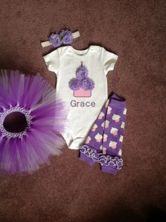 GIRLS Pink/ Purple Shabby Personalized Birthday Flower Cupcake Candle Baby Onesie Toddler 1st First Party Outfit Set leg warmers and tutu