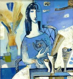 Woman in blue with her cat... by Tatiana Gorshunovavia.