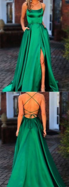 Green Prom Dresses with Pocket Long Backless Slit Formal Evening Ball Gowns, TYP. - Green Prom Dresses with Pocket Long Backless Slit Formal Evening Ball Gowns, Source by jasmin_timm - Prom Party Dresses, Party Dresses For Women, Trendy Dresses, Green Prom Dresses, Dresses Dresses, Graduation Dresses, Emerald Prom Dress, Casual Dresses, Ball Gown Prom Dresses