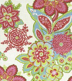 Home Decor Fabric-Annie Selke Shalini/Oxf Ivory/Raspberry- bathroom pattern Home Decor Fabric, Fabric Crafts, Girl Nursery, Girl Room, Nursery Curtains, Textiles, Cool Fabric, Fabulous Fabrics, Joann Fabrics