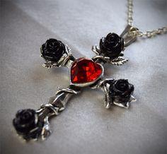 Moonmaiden Gothic Clothing - Alchemy Black Rosifix Necklace