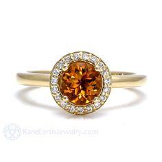 Citrine Ring 18K Diamond Halo Citrine Engagement Ring by RareEarth