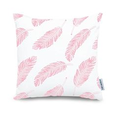 Popeven Square Pink Peacock Feathers Pillow Cover 18 x 18...