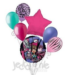 """Included in this bouquet: 7 Balloons Total 1 – 18"""" Monster High Round Balloon 1 – 18"""" Hot Pink Star Balloon 5 - 12"""" Mixed Latex Balloons (Neon Purple Leopard Safari, Aqua, Rose, Periwinkle, Neon Pink"""