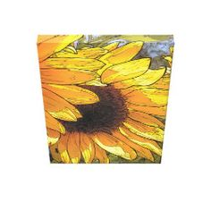 Bold beautiful blooming Sunflower on canvas.