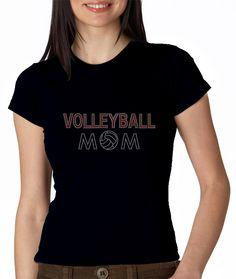 Volleyball Mom Triple Row Rhinestone T Shirt $28.99