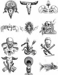 12 zodiac sign fc flower design skull