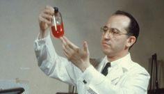 Jonas Salk in his lab. Inventor of the Polio Vaccine.
