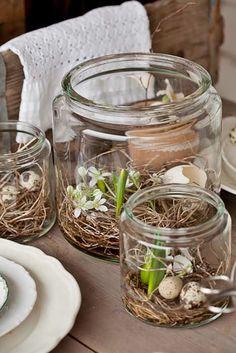 Sieht wunderschön aus: Einfach ein paar Wachteleier, Dekoblüten, Blumenzwiebel (mit nur wenig Erde),Osterstroh...in ein Glas packen. Einfach der Fantasie freien Lauf lassen.