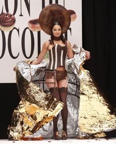Model Laetitia Rey wears a creation made with chocolate during a fashion show at the inauguration of the 15th annual Salon du Chocolat de Paris in Paris on October 13, 2009. Description from upi.com. I searched for this on bing.com/images