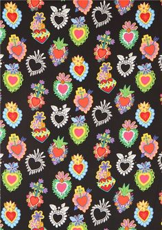 black heart fabric with flowers Alexander Henry USA