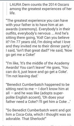 """Can he be any sweeter... I don't think so. Benedict Cumberbatch, Academy Awards"""