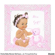 Pretty Baby Shower Girl Lace Pink Bear Brunette 2 Invitation