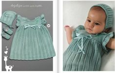 Beautiful baby knitted dress pattern for 0-12 months! Find the free baby knitted dress pattern here: link