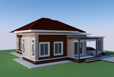 This tropical style one storey house design has 3 bedrooms, 2 bathrooms, 135 square meters total floor area. Proportion is the key in the layout, with the entry Modern Bungalow House Design, Small Modern House Plans, Modern House Facades, Beautiful House Plans, Bungalow Homes, Bungalow House Plans, Small House Design, Small Bungalow, House Plans Mansion