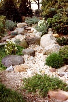 75 Gorgeous Dry River Backyard Landscaping Ideas On Budget Landscaping With Rocks, Front Yard Landscaping, Landscaping Ideas, Hillside Landscaping, Dry Riverbed Landscaping, Dry Garden, Lawn And Garden, Rain Garden, Garden Bed