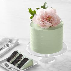 The Cake Bake Shop's Mint Chocolate Chip Cake – muffins Valrhona Chocolate, Chocolate Chip Cake, Mint Chocolate Chips, Belgian Chocolate, Chocolate Ganache, Chocolate Bowls, Pink Cake Box, Mint Cake, Mint Green Cakes