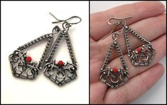 silver and red earrings by annie-jewelry.deviantart.com on @deviantART