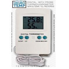 Termo higrómetro digital con sonda, montaje de pared en posición vertical, mide temperatura y humedad simultáneamente. Características: Rango de medición: Temperatura interior: -10 ~ 50 Cº Temperatura exterior: -50 ~ 70 Cº Humedad interior: 20% ~ 99% RH Precisión: +/- 1Cº, +/-5% RH Cable: 1.90m
