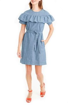 Free shipping and returns on J.Crew Edie Chambray Dress (Regular & Petite) at Nordstrom.com. A J.Crew favorite—the ruffle top—now in dress form, with a self-fabric belt at the waist so it's extra-flattering.