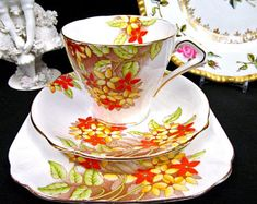 Bell China Tea Cup and Saucer Floral Painted Teacup Trio England