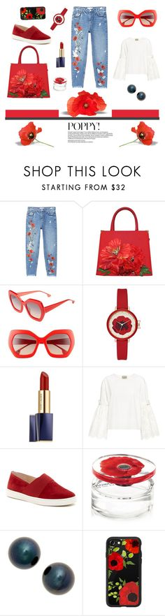 """Poppy set"" by coldasme ❤ liked on Polyvore featuring MANGO, Carlo Zini, Alice + Olivia, Estée Lauder, Sea, New York, Via Spiga, Kenzo, Poppy Finch, Casetify and Flowers"