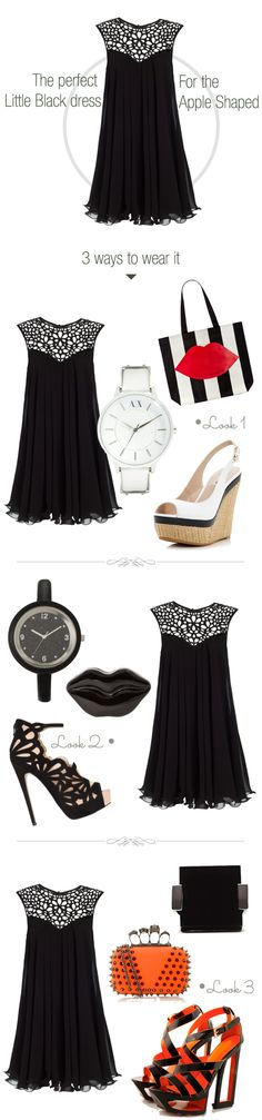 the-best-little-black-dress-for-the-Apple-shaped woman. The lace yoke is a great feminine detail whereas the gathers are comfortable for your wider mid-section. The dress however shows off your toned legs.  3 ways to wear your LBD - Little black dress in the day for a formal evening event and to party.