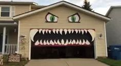 This professional face painter wanted to do something for Halloween. So she painted her garage door and had it look like a monster chewing whenever it opened and closed.