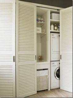 Bathroom closet door ideas mud rooms Ideas for 2019 Laundry Doors, Laundry Closet, Laundry Storage, Linen Storage, Laundry Tips, Laundry Room Bathroom, Small Laundry Rooms, Remodel Bathroom, Louvre Doors