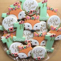 Evelyn is celebrating turning 1 with this sweet woodland theme 🧡 First Birthday Cookies, 1st Birthday Party For Girls, Girl Birthday Themes, 1st Birthday Girl Party Ideas, 1st Birthdays, Fox Cookies, Iced Cookies, Baby Shower, Woodland Theme Cake