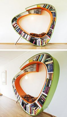"Bookworm Chair    Dutch teams of Atelier010 realized this beautiful object soberly called ""Bookworm Chair"". This chair has a unique shape that allows both sit comfortably, but also to store a large number of books. More images of this concept later in the article."