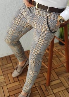 Mens Plaid Pants, Fashion Pants, Mens Fashion, Retro Fashion, British Style, Casual Pants, Men Casual, Dandy, Shirt Style
