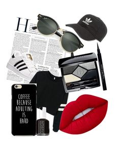 Untitled #3 by tilda-hedblom on Polyvore featuring polyvore, adidas, Ray-Ban, Lime Crime, Christian Dior, Givenchy, Essie, fashion, style and clothing