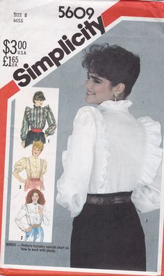 Vintage 1980's Simplicity 5609 Blouse Pattern Size by tealducktoo, $4.95  More 80s Victorian!